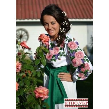 """Заготовка жіночої блузки під вишивку """"Троянди з фіалками"""""""