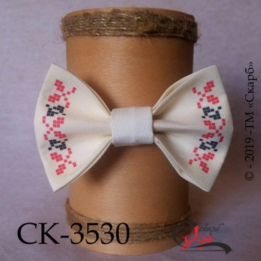 """Краватка-метелик під вишивку """"Орнамент-оберіг"""" (молочна)"""