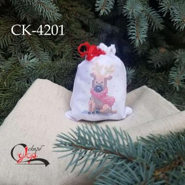 """Подарункова торбинка під вишивку """"Різдвяний олень"""""""