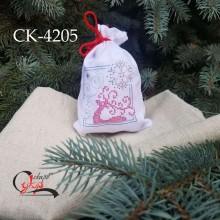 """Подарункова торбинка під вишивку """"Казковий олень та сніжинки"""""""
