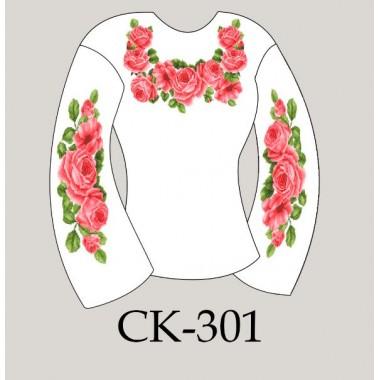"""Заготовка жіночої блузки під вишивку """"Пишні рожеві троянди"""""""