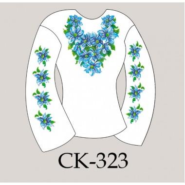 """Заготовка жіночої блузки під вишивку """"Сині квіти"""""""